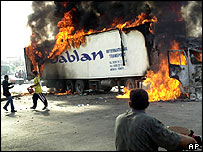 Burning supply truck