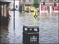 Flood hit Market Harborough high street
