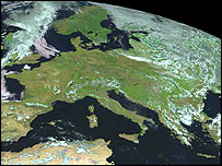 Virtually cloudless Europe taken by the Meteosat Second Generation satellite (MSG-1) (Image: EUMETSAT)