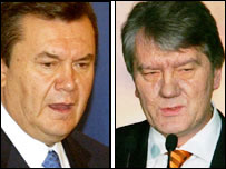 Presidential candidates in the run-off: Viktor Yanukovych (left) and Viktor Yushchenko
