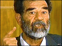Saddam Hussein in court in July 2004