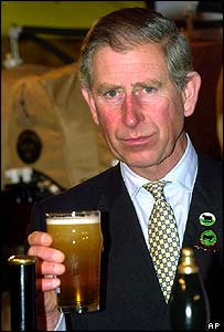 Prince Charles enjoys a pint of beer