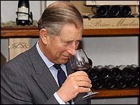 Prince Charles enjoys a glass of wine