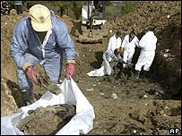 Forensic archaeologists in Zvornik, Bosnia, examine mass graves