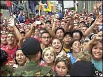 Chavez supporters in the streets of Caracas