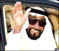 Sheikh Zayed waving from a car ealier in 2004