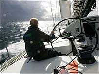Mike Golding sailing Ecover