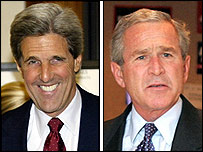 Composite picture of John Kerry (L) and George W Bush on Election Day (AFP)