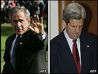 George W Bush (L) and John Kerry