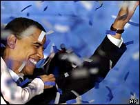 A victorious Barack Obama