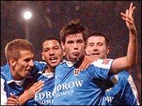 Cardiff midfielder Joe Ledley celebrates his goal against West Ham
