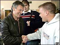Senate minority leader Tom Daschle greets a supporter in  Sioux Falls, South Dakota