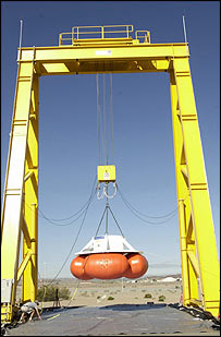 Drop test with deadbeat airbags, Lockheed Martin