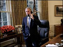 US President George W Bush in the Oval Office on 3 November 2004