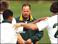 South Africa coach Jake White watches his players