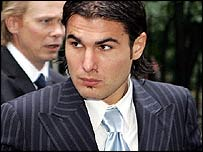 Chelsea striker Adrian Mutu arrives for the FA hearing