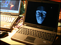Jeremiah face projection in a laptop computer