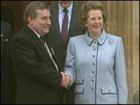 Margaret Thatcher and Lech Walesa