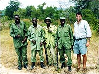 Friedrich Alpers (R) and the Selous Rhino Trust team