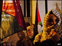 Yasser Arafat supporters outside his hospital in Clamart, near Paris