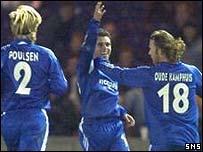 Cassio Lincoln (centre) celebrates his winning goal