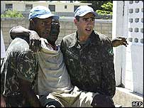 Brazilian soldiers under the UN mandate in Haiti