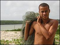 Boy with fishing net