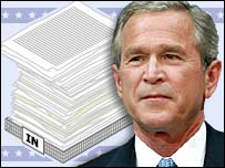 Graphic showing an in tray and President Bush