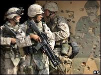 US marines outside Falluja, Iraq