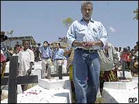 East Timor President Gusmao at a cemetery, October 2004
