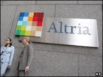 Workers smoking outside Altria's HQ