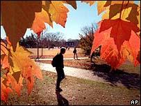 autumnal scene on university campus
