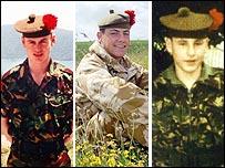 Sgt Stuart Gray, 31, Pte Paul Lowe, 19 and Pte Scott McArdle, 22,