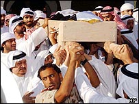 Body of Sheikh Zayed being carried through the streets