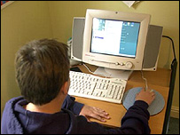 Boy using the internet