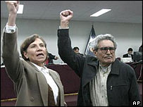 Abimael Guzman in court, with his lover and co-defendant Elena Iparraguirre