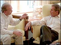 Karl Rove with then Texas Governor George W Bush