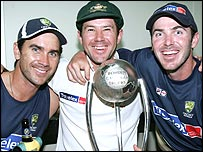 Justin Langer, Ricky Ponting and Damien Martyn