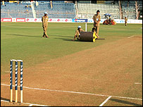 The pitch in Mumbai before day three of the last Test