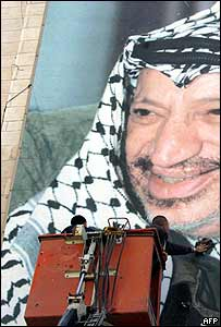 Man cleans giant Arafat poster on a Hebron wall, 7 November