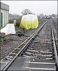 The train pictured from the crossing where it crashed