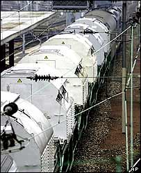 A train carrying nuclear waste from France to Germany (2001)