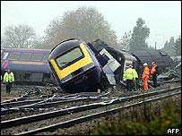 Train derailment site