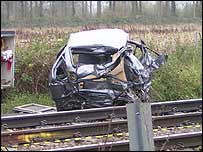 The wreckage of the car involved in the crash