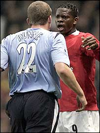 Richard Dunne and Louis Saha square up
