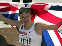 Paula Radcliffe after winning in New York