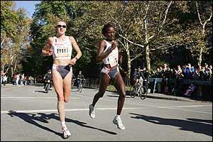 Paula Radcliffe begins to leave Kenyan Chepkemei behind over the last 800m