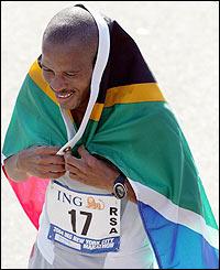 South Africa's Hendrik Ramaala celebrates