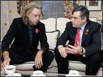 Bob Geldof and Gordon Brown