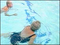 Elderly people in swimming pool